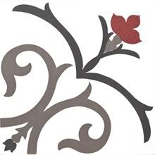 Kerion Dekor Branche Framboise röd/grå