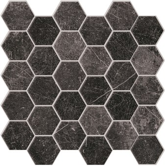 Panarea Black Svart Nat Hexagon Rect 7215